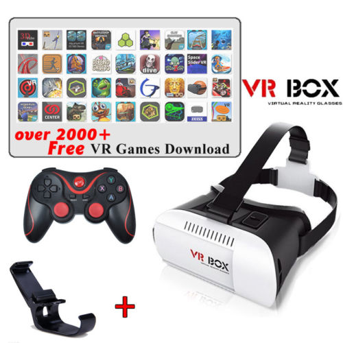 Google Cardboard VR BOX Head Mount Virtual Reality 3D Glasses + Bluetooth Joystick Game Gamepad +Bracket Mount For Android Phone(Hong Kong)