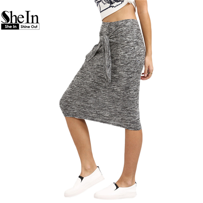 SheIn Women Summer Style Casual Knee Length Skirts Ladies 2016 New Arrival Plain Grey Knotted Front Sheath Skirt(China (Mainland))