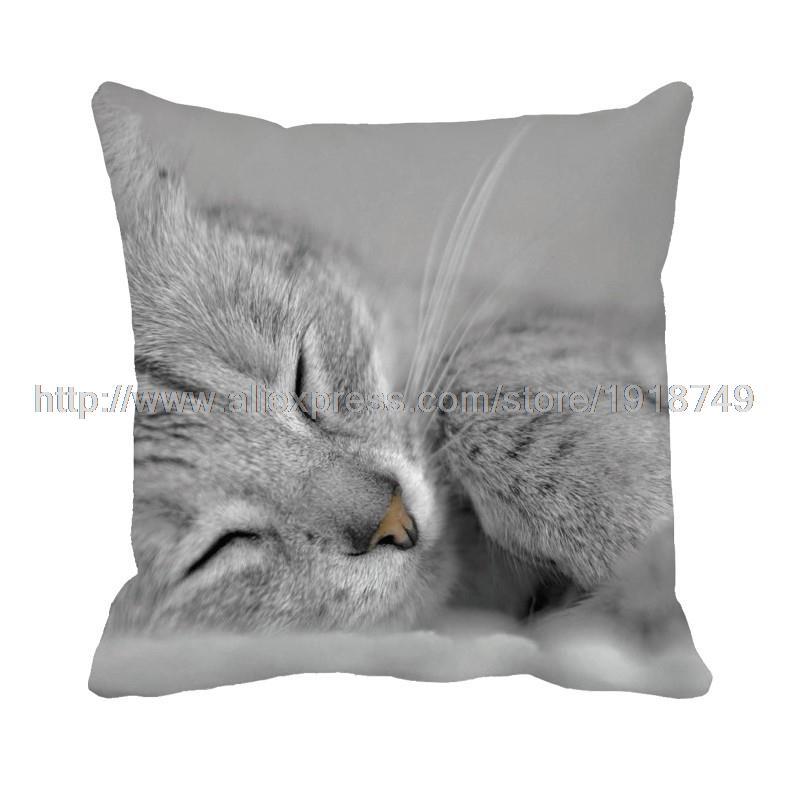 grey sleeping cat printed animal cushion covers home decoration square sofa throw pillowcase set 40x40cm 45x45cm