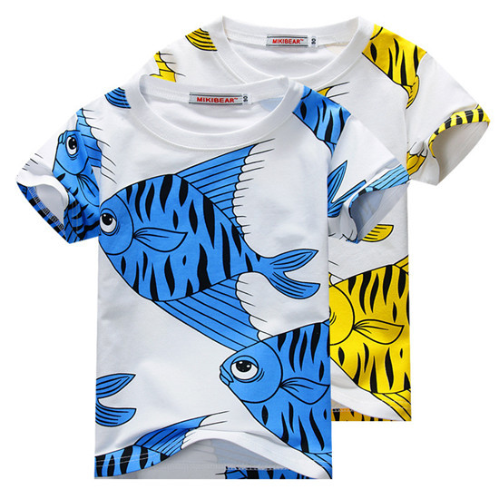 2016 Mini Rodini Kids Shirt Fish Printed Boys Girls Cotton Short Sleeve Children Clothing Baby Kids New Fashion Summer Tops Y105(China (Mainland))