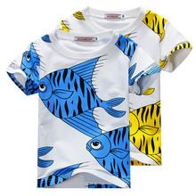 2015 Mini Rodini Shirt Fish Print Boys Girls Cotton Short Sleeve Children Clothing Baby Kids New Fashion Tops Summer Style YA105(China (Mainland))