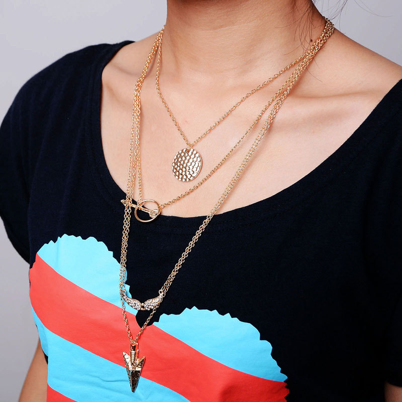 Punk Multi Layers Arrow Necklaces Women Four Layers Angel Wings Necklaces&Pendants Ladies Gold Multilayer Chain Necklace Jewelry(China (Mainland))