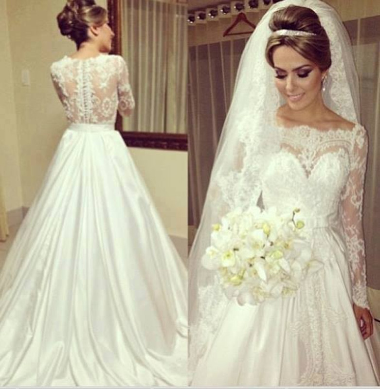 Glamorous off the shoulder appliqued lace long sleeve for One shoulder long sleeve wedding dress