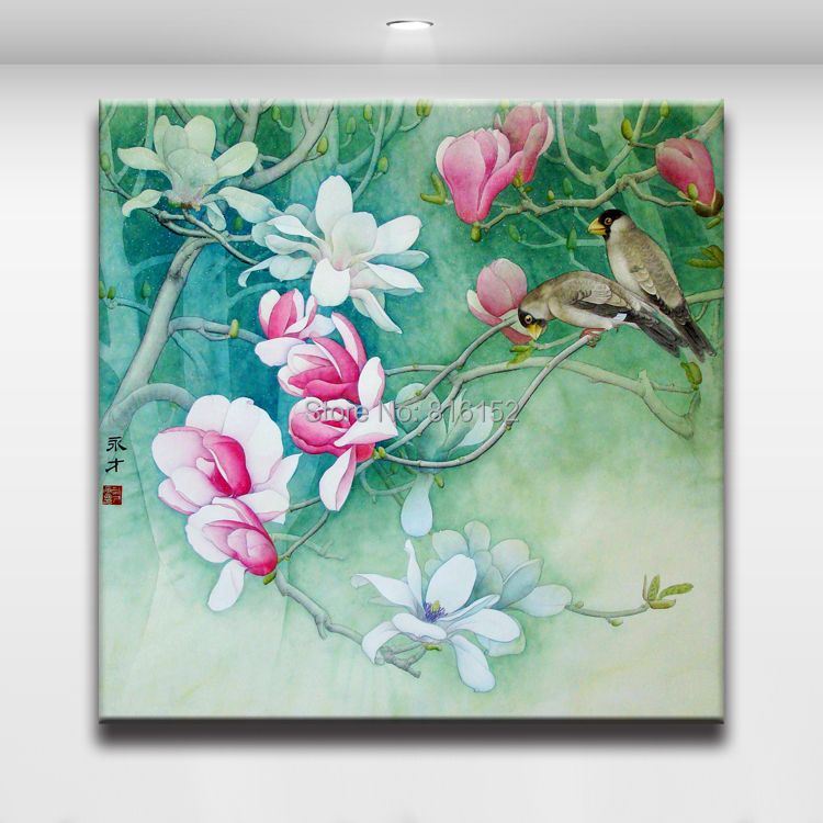Wall Art Flowers And Birds : Chinese bird and flower fine brush hand painted art