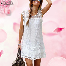Zanzea Summer Dress 2016 Sexy Women Casual Sleeveless Beach Short Dress Tassel Solid White Mini Lace Dress Vestidos Plus Size(China (Mainland))