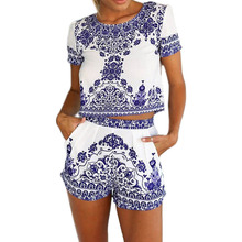 Chinese Style Women's Digital Printing Retro Blue And White Porcelain Pattern Suit Jacket + Pants