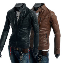 2013 Free Shipping New Men Leather Jacket Slim Leather Fashion Sportsman Motorcycle Leather Collar M L XL XXL Retail Wholesale(China (Mainland))