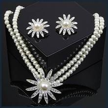 Rhinestone Rhodium Plated Necklace And Earrings Imitation Pearl Jewelry Set Wedding Jewelry Sets Conjunto Collar Y Pendientes(China (Mainland))