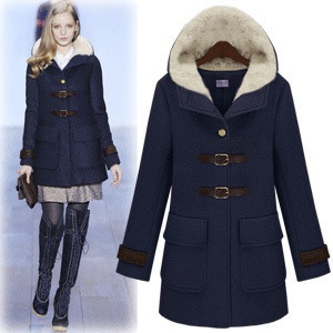 2013 WINTER COLLECTION [YZ046] British style women's outerwear, trench, female woolen coats jackets drop shipping fur collar