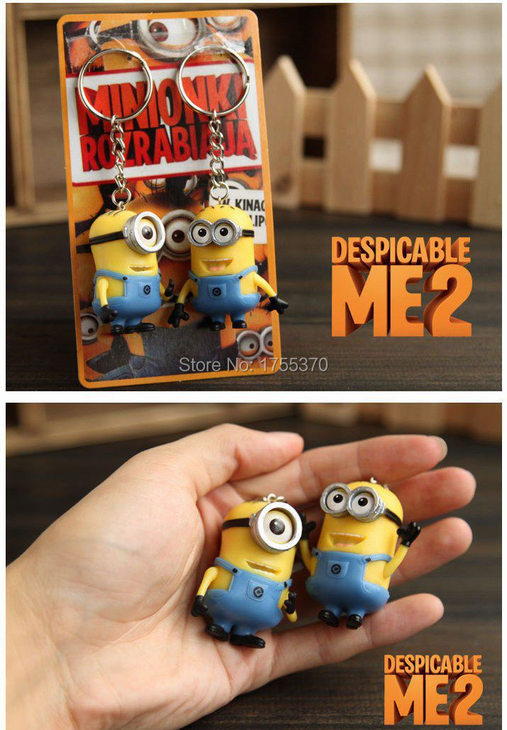 Free Shipping 2Pcs Cartoon Key Ring Chain Despicable Me 3D Eye Small Minions Figure Kid toy