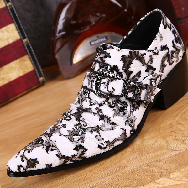 Luxury Brand Style Head Layer Cowhide 2016 New White Genuine Leather High-heeled Pointed Skull Male Stage Bar Metrosexual Shoes<br><br>Aliexpress