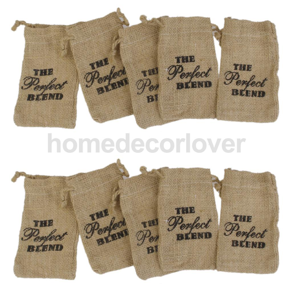 "10 Large Rustic Chic Burlap And Lace Wedding Favor Bags ""The perfect Blend""(China (Mainland))"