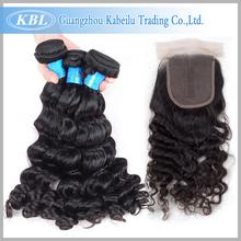 KBL 100 Процентов бразильских глубокая волна с закрытия человеческого волоса weave 3 расслоения с lace closure бразильский девственные волосы с закрытие(China (Mainland))