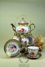 Wedding Birthday 13 Piece Gold Red Flower European-Style Chinese Ceramic Tea Set Tea Service