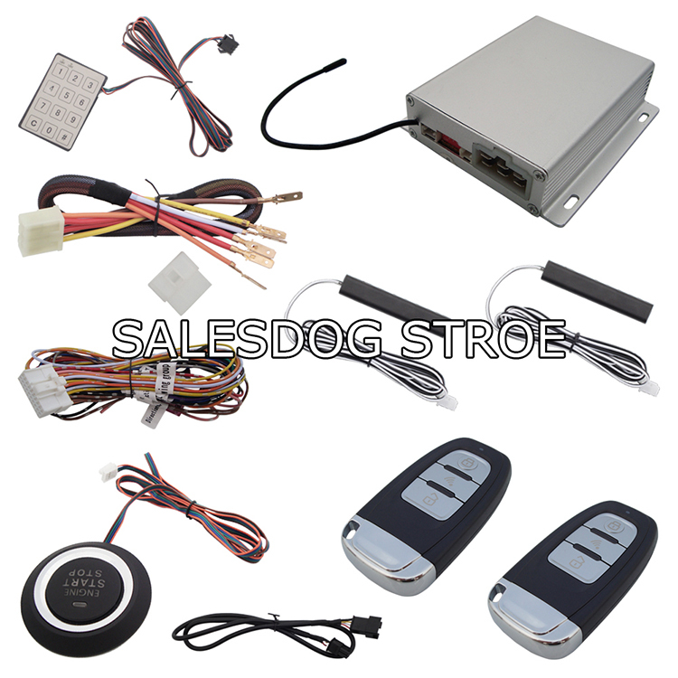 Stock In USA PKE Car Alarm System With Engine Start & Stop Push Button Smart Key Engine Start Car System Acess By Code Keyboard!(China (Mainland))