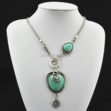N71 Green Turquoise Stone Natural Stone Necklace Pendant Jewlery Women Vintage Look Tibet Alloy free shipping