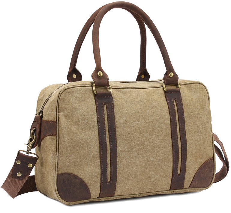 Unisex Vintage Crazy Horse Leather Canvas Men Duffel Bag Leather travel bag Women Boston tote bag overnight Bag Shipping M312-S(China (Mainland))
