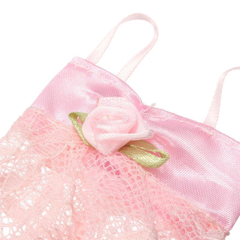 3PCS/Set Colourful Attractive Pajamas Lingerie Nightwear Lace Night time Gown + Bra + Underwear Garments For Barbie DollSkirt Garments