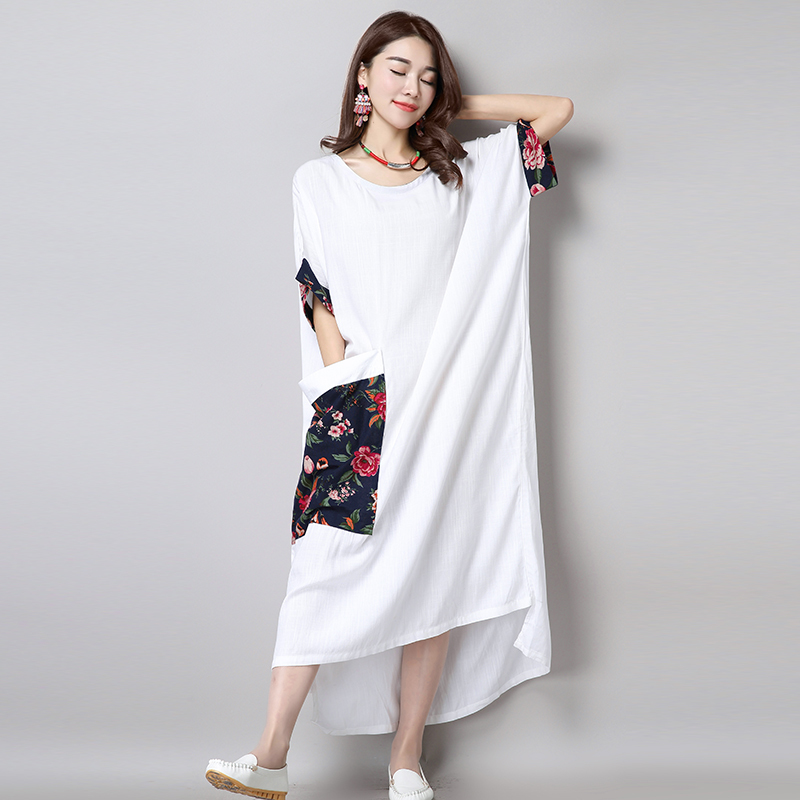 2016 Summer New Arts style Women Batwing Sleeve Loose Long Dress High Quality cotton linen Vintage Casual Maxi Dress(China (Mainland))