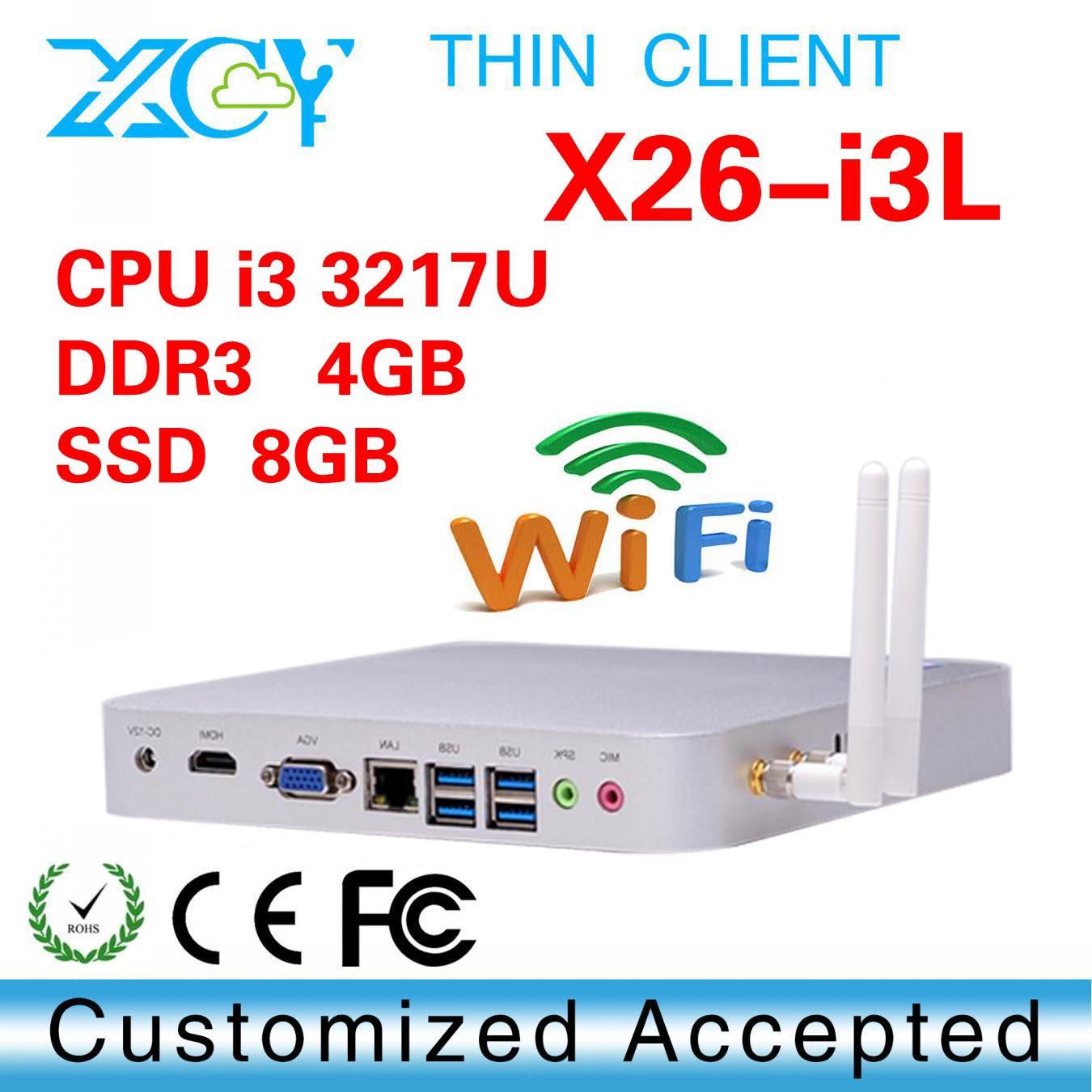 intel 3217u core dual 4GB RAM 8 GB ssd embedded PC mini desktop fanless thin client linux support performance 3D graphics(China (Mainland))