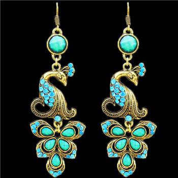 Vintage Look Tibet Alloy Antique Bronze Plated Fantastic Crystal Peacock Pendant Dangle Earrings TE56(China (Mainland))