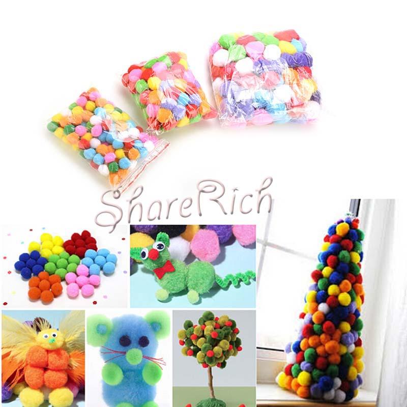 100 Pcs DIY Mixed Color Mini Soft Fluffy Pom Poms Pompoms Ball 2cm/3cm/4cm<br><br>Aliexpress
