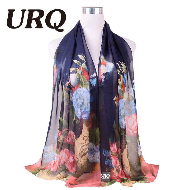 2016 New Design Flowers Chiffon Scarf for Women Polyeste Silk Scarf Scarves Shawl P5A16564(China (Mainland))