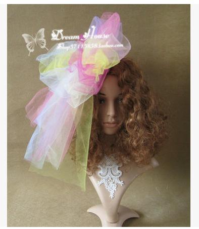 DIY pure manual rainbow ice cream color bowknot shape hair accessories photo shooting dress collocation hairpin headwear DF321(China (Mainland))