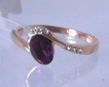 Ring.Women's ring.Size 9(S).Free shipping.Amethyst 18K GP Yellow Gold Ring.Fashion jewelry(China (Mainland))