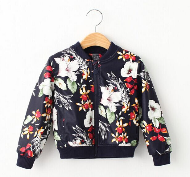 Children Clothing Girls Leather Jackets Fashion Zipper Rivets Faux Leather Floral Kids Apparels Casual Spring Autumn Coats 2-7T(China (Mainland))