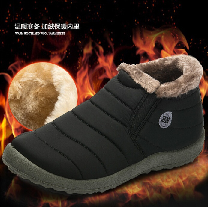 2016 New Women & Men Winter Shoes Solid Color Snow Boots Cotton Inside Antiskid Bottom Keep Warm Waterproof Ski Boots,size 45(China (Mainland))