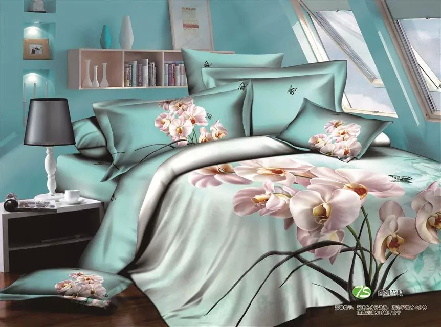 3D Butterfly and Orchid Pale Turquoise Bedding Set Queen Size Comforter Cover Pillowcase Bed