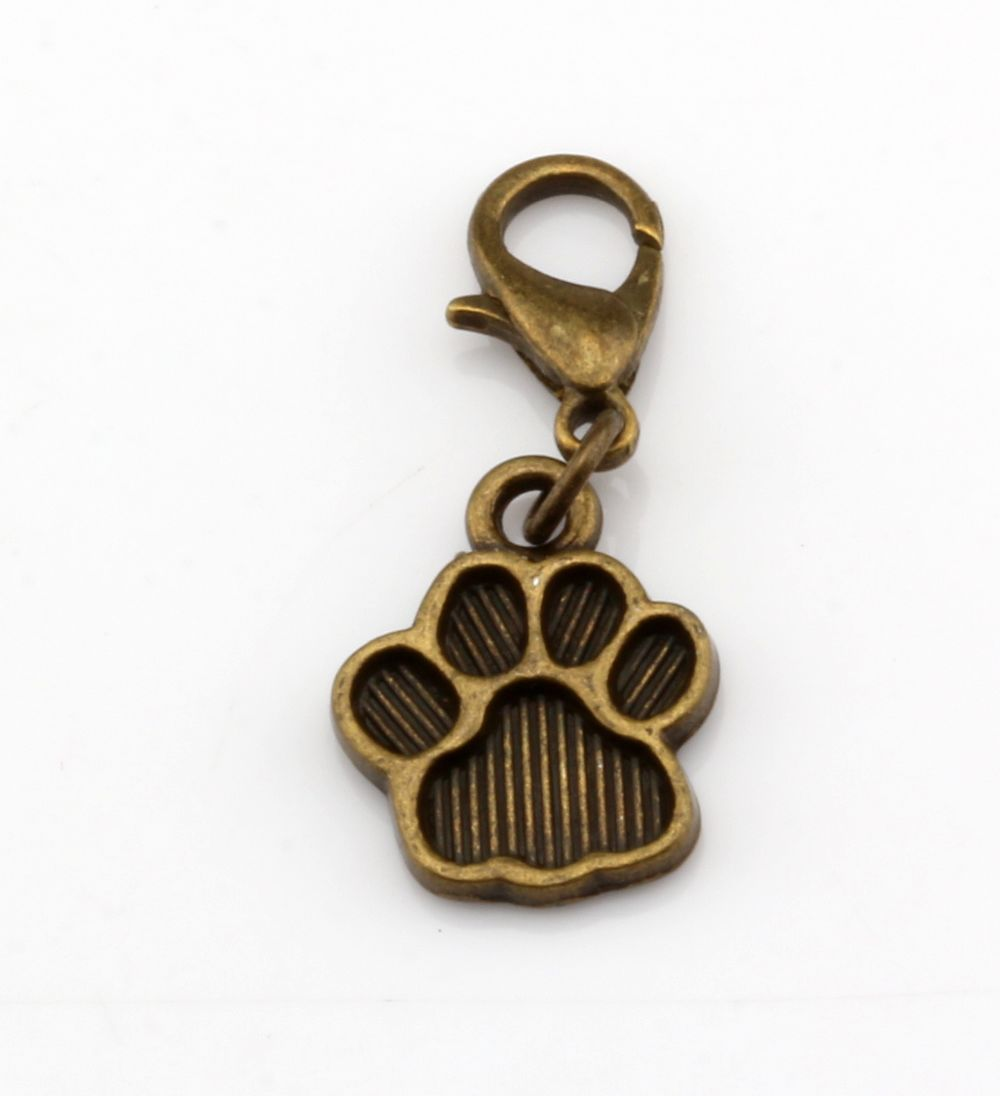 mic 15 pcsantique bronze paw print charm with lobster