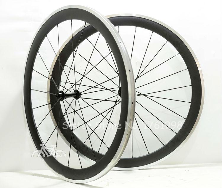 Road Bike Carbon Wheelset 700C Clincher Rim Carbon; Al Alloy Brake Surface Carbon Wheels 50*20.5mm & Aluminum braking Surface(China (Mainland))
