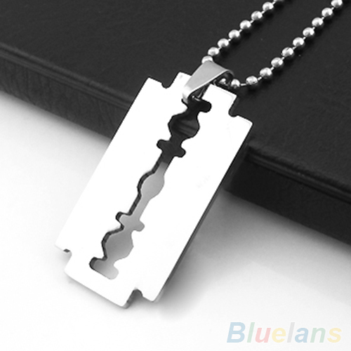 Men's Stainless Steel Razor Blade Pendant Silver Color Ball Chain Necklace