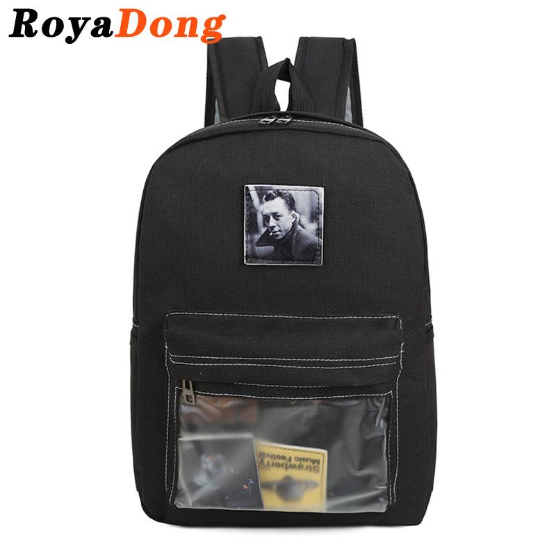 RoyaDong Nylon Transparent Backpack Women Albert Camus Appliques Black School Backpack For Teenage Girls Boys(China (Mainland))