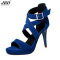 Size plus velvet fashion high heeled sandals 2017 new women s Roman style summer shoes