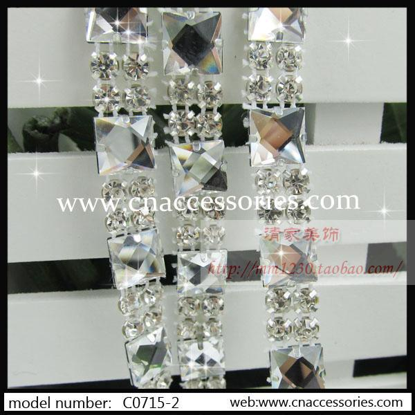 fashion rhinestone mesh trimming,square glass banding,5yards/lot,wedding dress decoration banding,bridal trimming,#073012 - QingMei China accessories company store