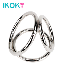 Buy IKOKY Male Chastity Device Stainless Steel Cock Rings Penis Rings Three Cock Cages Sex Toys Men Male Delay Ejaculation