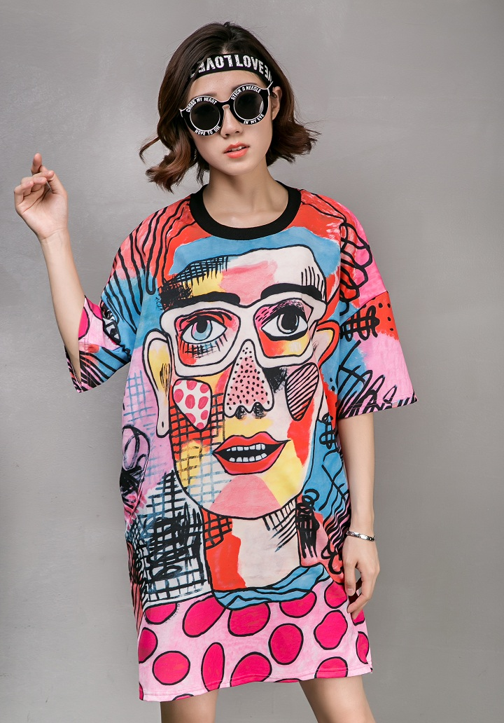 2016 summer women Make popular logo glasses men face printing loose big yards short sleeve dress(China (Mainland))