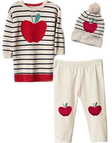 New Casual Girl Set Apple Print Shirt +Trouser +Hat Kids  Clothes Cotton Girls Outfit<br><br>Aliexpress