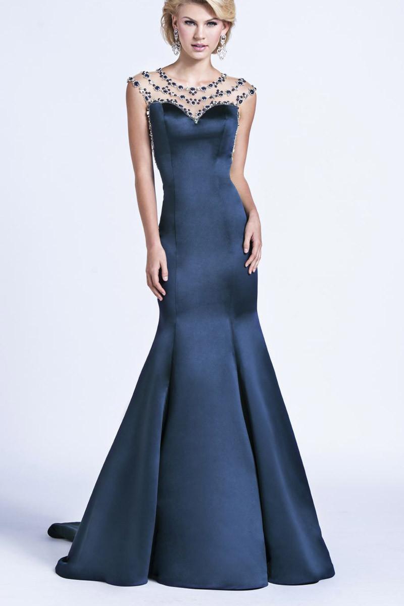 2015 elegant crystal formal evening dresses navy blue for Navy evening dresses for weddings