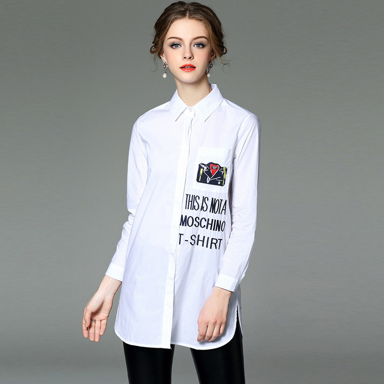 T2079 Europe 2016 spring new women fashion leisure embroidered Monogram single breasted long shirt