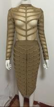 2016 women winter  long sleeve dresss studded olive mesh high neck black pink gray bodycon knee-length bandage dress wholesale(China (Mainland))