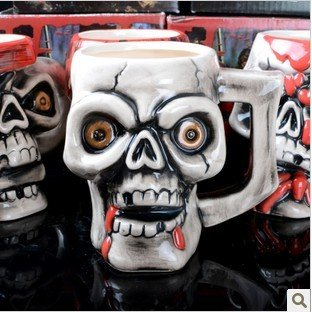 New Creative lovely pirates Drink cup, individual character Students Glass milk cup skull cup(China (Mainland))