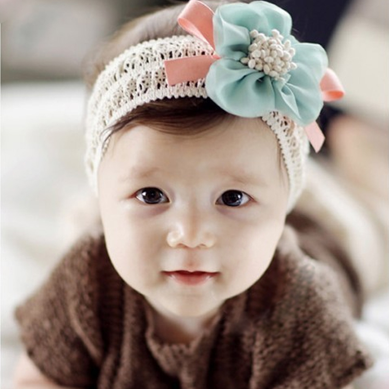 Chiffon floral hairbands baby girl  tiaras orange blue  pink lovely  lace  Headwear   the latest popular of South Korea lace(China (Mainland))