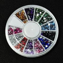 Fashion Lovely Design 12 Colors Nail Rhinestones Acrylic Nail Art Rhinestones Decoration For UV Gel Phone Laptop DIY Nail Tools(China (Mainland))
