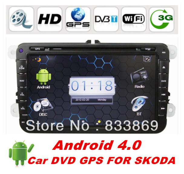 "HD 2din Android 4.0 8 ""Car DVD Player GPS Navi For SKODA / Volkswagen With BT IPOD Radio / RDS AUX IN 3D UI PIP TV 3G/WIFI(China (Mainland))"