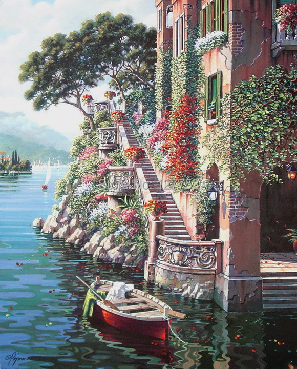Modern home decoration Oil Painting Art Print On Canvas Home Decoration Wall Art ( Venice Italy Lake Como Villa) Free Shipping