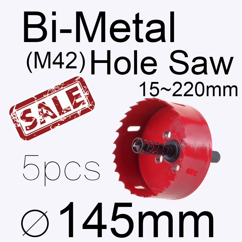 5pcs 145mm 5.709in Bi-metal hole saw Power tool Metal drilling Wood hole saw Wood tool woodworking Buy 2 more favorable<br><br>Aliexpress